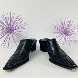 Stuart Weitzman / Black Heeled Square Toe Mules